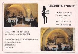 21826 Carte Lecointe Traiteur, Rue Aux Ours Rouen, Restaurant Diner Spectacle
