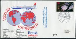 1974 Germany GB Australia India Thailand Hong Kong Japan USA British Aiways Flight Cover - Airplanes