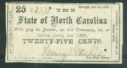 State Of North Carolina 25 Cent 1861 - Ax39 - Valuta Della Confederazione (1861-1864)
