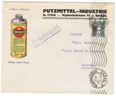 TELL 154 - Belle Enveloppe Commerciale PUTZMITTEL-INDUSTRIE BALE Aff. Fils De Tell Surchargé 1921 Pour SEDRUN - Lettres & Documents