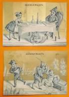 Chromo  Fin 19°./  Lot De 2 / Aux Deux Magots / Barousse / Pierrot Arlequin Vol / Repas Pierrot Sous La Table - Autres