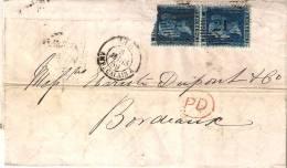 LETTRE DE LONDRES Pour BORDEAUX .PAIRE N°27 PLANCHE N°7 1859. - Briefe U. Dokumente