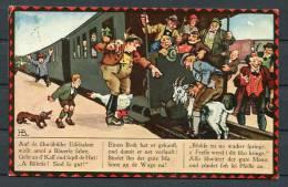 Germany Auf De Schwabische Eisebahne Railway Bier Goat Comic Postcard - Humor