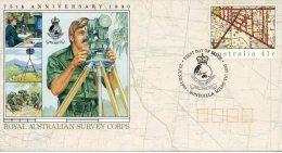 AUSTRALIE. Entier Postal Avec Oblitération 1er Jour De 1990.  Royal Australian Survey Corps/Topographie - Militares