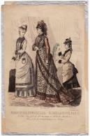 Gravure De Mode Magasin Des Demoiselles Femmes Chapeaux Fillette Perroquet Rigolet Cazal 25 Octobre 1875 - Prints & Engravings