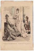 Gravure De Mode Magasin Des Demoiselles Femmes Chapeaux Fillette Rigolet Cazal 25 Août 1875 - Prints & Engravings