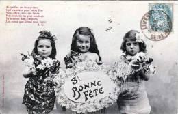 Drei Süße Kleine Mädchen Bei Geburtstagsfeier, Original Alte Karte 190? - Kinder