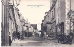 CPA 36 INDRE TOP  SAINT BENOIT DU SAULT LA GRANDE RUE TRES ANIMEE 1910 MAGASIN DE BICYCLETTES PHOTO DORSAND CHATEAUROUX - France