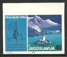 YUGOSLAVIA SLOVENIA TELEPHONE CENTRALE BLED Non Dentellato Imperforato IMPERF. IMPERFORATED PROOF PROBEDRUCK RARE - Slovénie