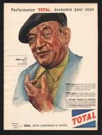 Publicité Papier  1960 Station Service TOTAL Voiture Automobile Dessin CYRIL Homme Age - Advertising