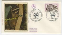 {68171} FDC Enveloppe , Soie , Raton Laveur De La Guadeloupe , Basse Terre 23 Juin 1973 , 0,40 Fr - FDC