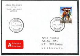 LATVIA  LETTONIE 2001 COVER FLAG. THE BALTIC WAY - Covers