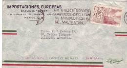 """Lettre De Mexico à Solingen (Allemagne) Avec Flamme """"No Utilice Sobres Cuadrados"""" - Mexique"""