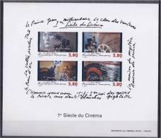 BLOC FEUILLET NON DENTELE AVEC GOMME 1995 YT 2919 - 2922 BF No. 17 SHEET BLOCK  COTE 500 EUR  CINEMA  ACTEUR PROJECTEUR - Blocs & Feuillets