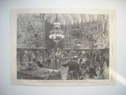 GRAVURE 1881. PARIS. L'EXPOSITION D'ELECTRICITE. ASPECT D'UN DES SALONS TELEPHONIQUES..... - Stiche & Gravuren