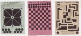 3 JEUX SUR PAPIER - LIGNE DROITE - LABYRINTHE - JEU DE DAMES - Altre Collezioni
