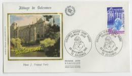 {68197} FDC Enveloppe , Soie , Solesmes Abbaye Saint Pierre , Solesmes 20 Septembre 1980 , 2,50 Fr - FDC