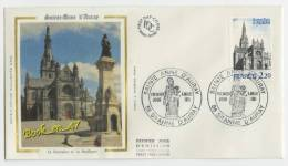 {68193} FDC Enveloppe , Soie , Sainte Anne D'Auray Fontaine Et Basilique , Ste Anne D'Auray 04 Juillet 1981 , 2,20 Fr - FDC