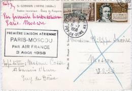 Cachet Commémoratif -  1ère Liaison Aérienne Paris Moscou Air France -  FRANCE - Avions