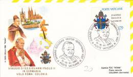 Pape Jean-Paul II - Voyage Roma Colonia Köln Cologne 1980 - Papa Papst Pope - Lettre Brief Letter - Marcophilie - EMA (Empreintes Machines)
