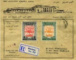 SOUDAN ANGLO-EGYPTIEN 1° Ass. Législatiove - L. Recc. Afft. 5 Pt. + 10 Mills Obl. 1er Jour FDC KHARTOUM 23.12.48 - SUP - Soedan (1954-...)