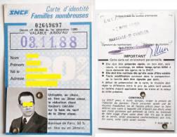 CARTE SNCF IDENTITE FAMILLES NOMBREUSES TAMPON MARSEILLE ST SAINT CHARLES TRANSPORT CHEMINS DE FER  GARE TRAIN WAGON - Other