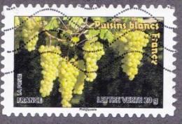 Oblitération Moderne Sur Autoadhésif De France N°  688 Flore - Fruit - Grappes De Raisins Blancs - France