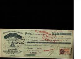 MANDAT  15/07/1928  -  PARIS  -  Léon  BOURGAIN  Boucles  et  Acier   Poli  -  Usine   à  COURBEVOIE