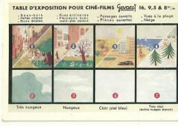 """TABLE D'EXPOSITION POUR CINE-FILMS """" GEVAERT """"  Avec MODE D'EMPLOI AU DOS - Format Carte Postale Ancienne - Photographie"""