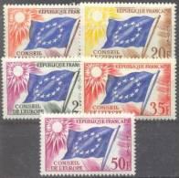 1958 Conseil De L'Europe  YT 17-21 / Mi 2-6 / Sc 1O2-6 Neuf Sans Charniere / Postfrisch / MNH - Service