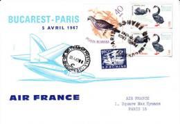 LETTRE PREMIER VOL BUCAREST -PARIS -AIR FRANCE - 5 AVRIL 1967 - Poststempel (Marcophilie)