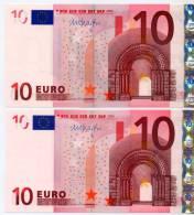 2 BANCONOTE DA 10 EURO A Firma M.. DRAGHI X GERMANIA E006.. + T IRLANDA K007.. UNC - EURO
