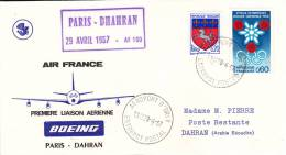 LETTRE PREMIER VOL PARIS -DAHRAN -ARABIE SEOUDITE -29-4-67 - Arabie Saoudite
