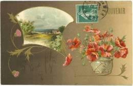 SOUVENIR : Belle Carte Fantaisie Gaufrée - COQUELICOTS  Et PAYSAGE ORNE DE CHARDONS REHAUSSE D'OR - Gruss Aus.../ Grüsse Aus...