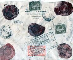 RARA BUSTA COMMERCIALE-BANCO DI CAMBIO-PARIGI-SPEDITA AD AVOSCAU-BELLUNO-SIGILLI DI CERALACCA-22-4-1926 - Storia Postale