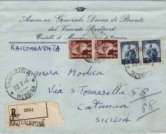 """TAORMINA  /  CATANIA - Cover _ Lettera Pubblicitaria """" Amm.ne Gen.le DUCA Di Bronte """"  Racc. - Lire 2 X 2 + 5 X 2 - 6. 1946-.. Repubblica"""