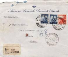 """TAORMINA  /  CATANIA - Cover _ Lettera Pubblicitaria """" Ann.ne Gen.le DUCA Di Bronte """"  Racc. - Lire  5 X 2 + 4 - 6. 1946-.. Repubblica"""