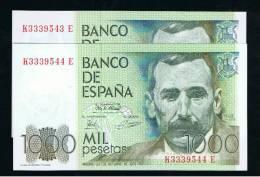 BILLETE ESPAÑA -  1000 Pesetas 1979  PAREJA  SC - Sin Clasificación