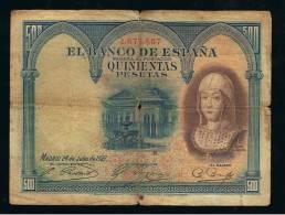 BILLETE ESPAÑA - 500 Pesetas 1927 - Sin Clasificación