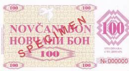 BOSNIEN  -  NOVCANI BON 100 DINARA  --  SPECIMEN - Bosnien-Herzegowina