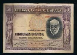 BILLETE ESPAÑA - 50 Pesetas 1935 - Sin Clasificación
