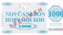 BOSNIEN  -  NOVCANI BON 1000 DINARA  --  SPECIMEN - Bosnië En Herzegovina