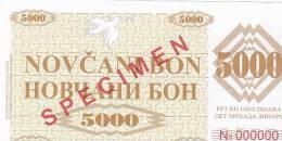 BOSNIEN  -  NOVCANI BON  5000 DINARA  --  SPECIMEN - Bosnien-Herzegowina