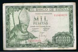 BILLETE ESPAÑA -  1000 Pesetas 1965 - Sin Clasificación