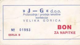 CROATIA  -  ,, J  -  G ,,  VELIKA GORICA  -  BON - Kroatien