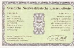 DEUTSCHLAND  --  5 X STAATLICHE NORDWESTDEUTSCHE KLASSENLOTERIE  - - Lotterielose
