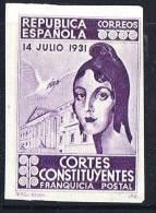 1931  Cortes Constituentes   Sin Valor, Violeta  Sin Dentar - Franquicia Postal
