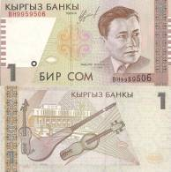 Kyrgyzstan P4, 1 Som, Manas The Noble W/sword, Shield On Horseback -$3CV - Kyrgyzstan