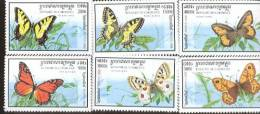 CAMBODGE  1721-6  MINT NEVER HINGED SET OF STAMPS OF BUTTERFLIES-INSECTS - Butterflies