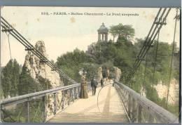 Paris - Buttes Chaumont, Le Pont Suspendu - France 1900s - Parks, Gärten